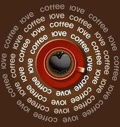 Red cup of heart in black coffee vector