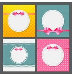 Vintage frame with bow set background vector