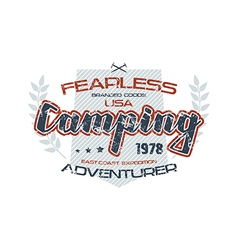 Camping typographic emblem vector