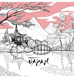 Japan landscape background vector