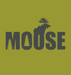 Logo emblem moose silhouette with text wild animal vector