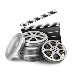 Movie film disk with tape vector