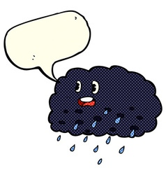 Cartoon rain cloud with speech bubble vector