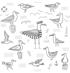 seagulls set seamless pattern vector image