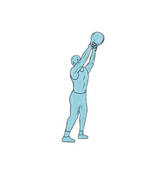 Athlete fitness kettlebell swing drawing vector