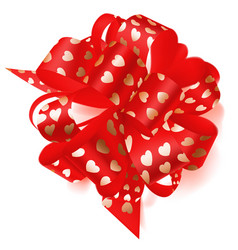 big bow made of ribbon with small hearts vector image vector image