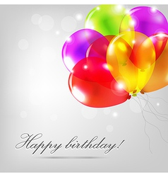 Birthday Card With Color Balloons vector image