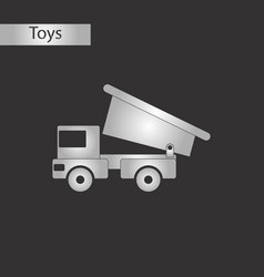 Black and white style toy truck vector