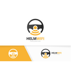 Car helm and wifi logo combination vector