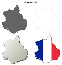 Eure-et-loir centre outline map set vector