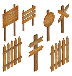 fence wooden signboards arrow sign vector image vector image