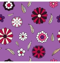Floral doodle seamless pattern vector image vector image