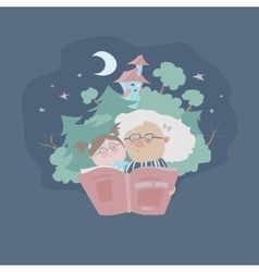 Grandmother reading fairytales to her vector image