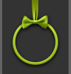 grey holiday background with green bow vector image vector image