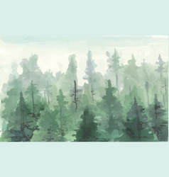 hand drawn painting of winter forest landscape vector image