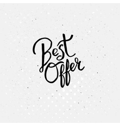 Handwriting design for best offer concept vector