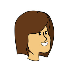 Happy cute woman face with hairstyle vector