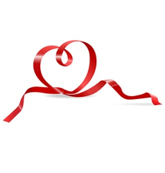heart of red ribbon vector image vector image