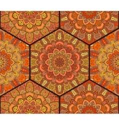 Honey comb hex pattern from flower mandala vector