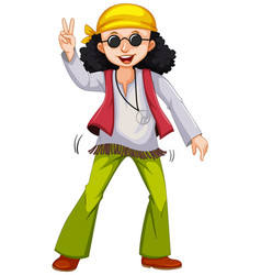 Man in hippie clothes doing the peace gesture vector