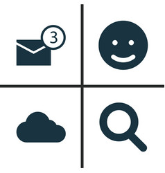 media icons set collection of smile inbox vector image vector image
