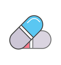 medical drug capsule linear icon vector image vector image