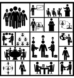 Meeting icons set black vector