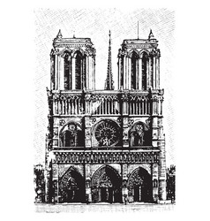 Notre dame viewed from the front vintage engraving vector