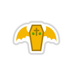 Paper sticker on background of wings coffin vector