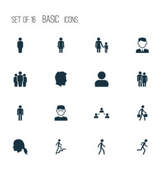 People icons set collection of ladder jogging vector