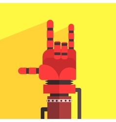 Robot hand making sign of horns vector