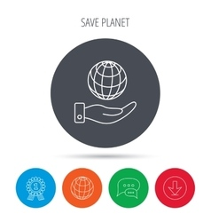 Save planet icon Hand with globe sign vector image