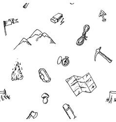 Seamless pattern hand drawn camping adventure set vector image vector image