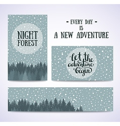 Set of banners and cards with night sky with stars vector image