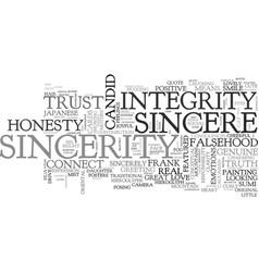 Sincerity word cloud concept vector