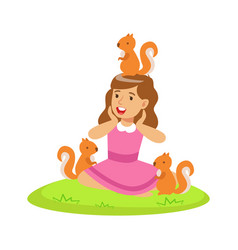 smiling happy girl sitting on green grass and vector image
