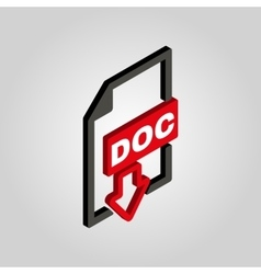 The DOC icon3D isometric Text file format symbol vector image vector image