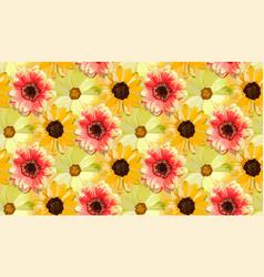 Vintage orange dahlia yellow sunflower repeated vector