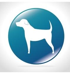 White silhouette big dog blue button icon design vector