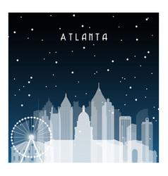 winter night in atlanta night city in flat style vector image vector image