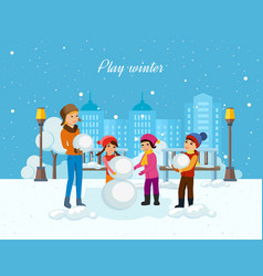 Young children in winter clothes sculpt snowman vector