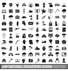 100 natural disasters icons set simple style vector