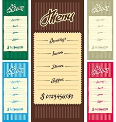 The menu dishes for mains vector image