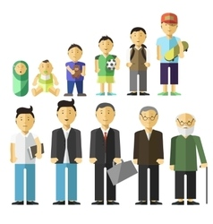 Aging concept of male characters vector