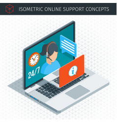 Isometric online support concept vector