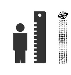 Height meter icon with job bonus vector