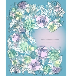 Floral background flowers and leaves vector