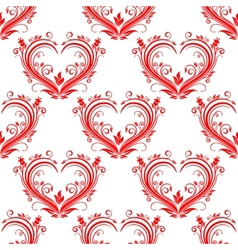 Seamless pattern ornate floral hearts vector