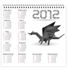 2012 year calendar with black origami dragon vector image