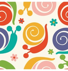 Pattern with colorful snails and flowers vector